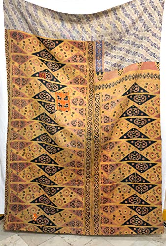 Fair Trade First Grade Vintage Kantha Quilt Reversible Bedding Throw Craftmanship Fine Embroidery Handmade Old Sari Patchwork Bedspread Embroidered Blanket Decorative Quilt (Pattern 2) (Handmade Old Embroidery)