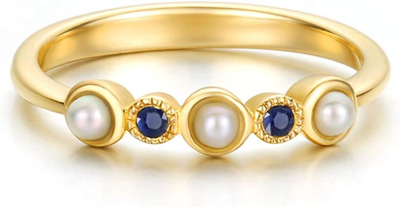 AueDsa Anillo Mujer Oro Anillos de Oro para Mujer 18 Quilates Redondo con Perla 0.22ct Zafiro Azul 0.05ct Anillo Talla 6,75-25
