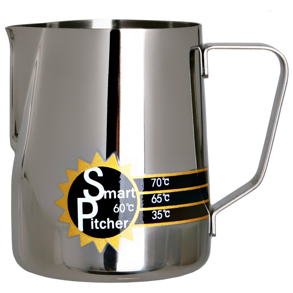 SMART PITCHER Espresso Coffee Milk Frothing Pitcher With Built-In Thermometer, Stainless Steel (20 oz) by SMART PITCHER