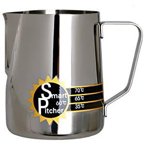 SMART PITCHER Espresso Coffee Milk Frothing Pitcher With Built-In Thermometer, Stainless Steel (20 oz)