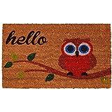 """Home & More 121731729 Elf Owl Hello Doormat, 17"""" x 29"""" x 0.60"""", Multicolor"""