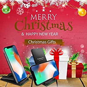 Cubevit iPhone X Wireless Charger, QI Fast Wireless Charging Pad Stand for Samsung Galaxy Note 8 S8 S8 Plus S7 Edge S7 S6 Edge Plus Note 5, Standard Charge for Apple iPhone X 8 8 Plus (NO AC Adapter)
