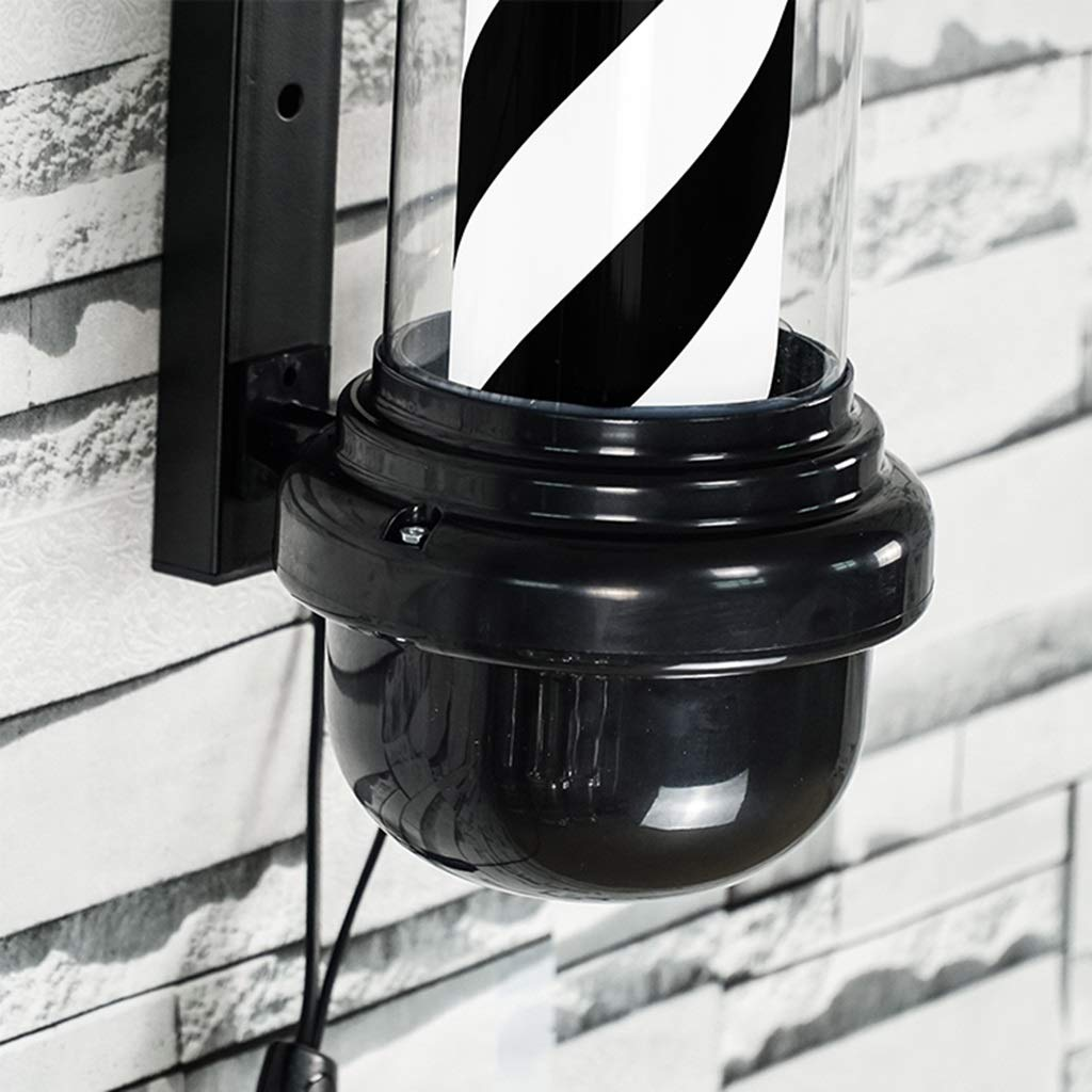QIAO LED Barbers Pole Hair Salon Logo Rotating Light Black and White Rotating Light Salon Shop Sign Wall Light (Color : Black+White, Size : 88cm) by QIAO (Image #4)