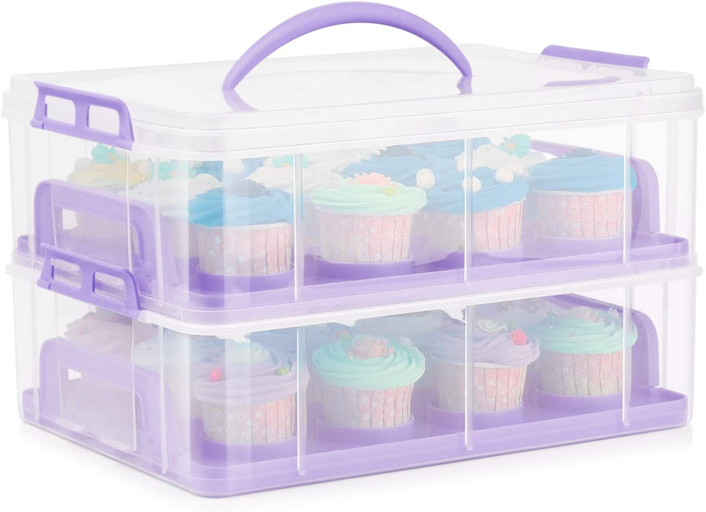 Flexzion Cupcake Carrier Quality inspection Holder Container Box 24 Max 82% OFF Tier Slot 2