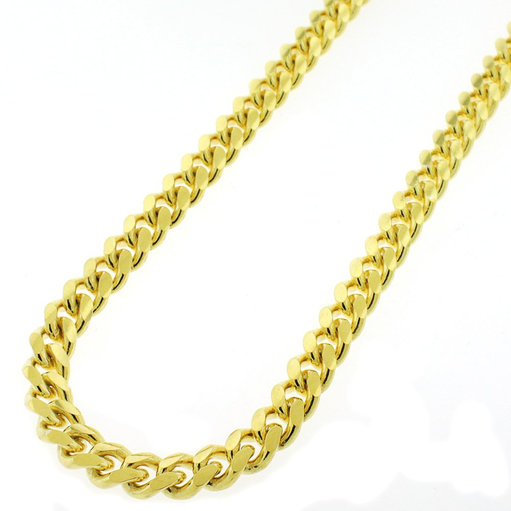 Sterling Silver 7.5mm Miami Cuban Curb Link Thick Solid 925 Yellow Gold Plated Chain Necklace 24 - 30'' (24)