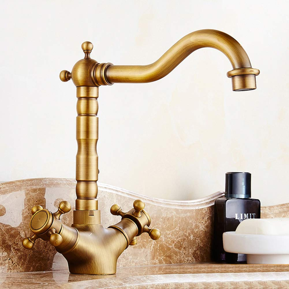 F Antique Lavatory Faucet, Sink Faucet Hot and Cold Retro Pure Copper Brushed Kitchen Faucet Single Hole Water tap-K