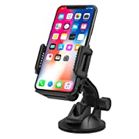 TaoTronics TT-SH08 Phone Holder for Car, TaoTronics Car Mount For Car Windscreen with One-button Release for iPhone X/ 8/ 7/ 7 Plus/ 6S/ 6s Plus/ 6/ 5S/ 5C, Samsung Galaxy S7 S6 Note 5/ 4, Huawei and Other Smartphone – Black