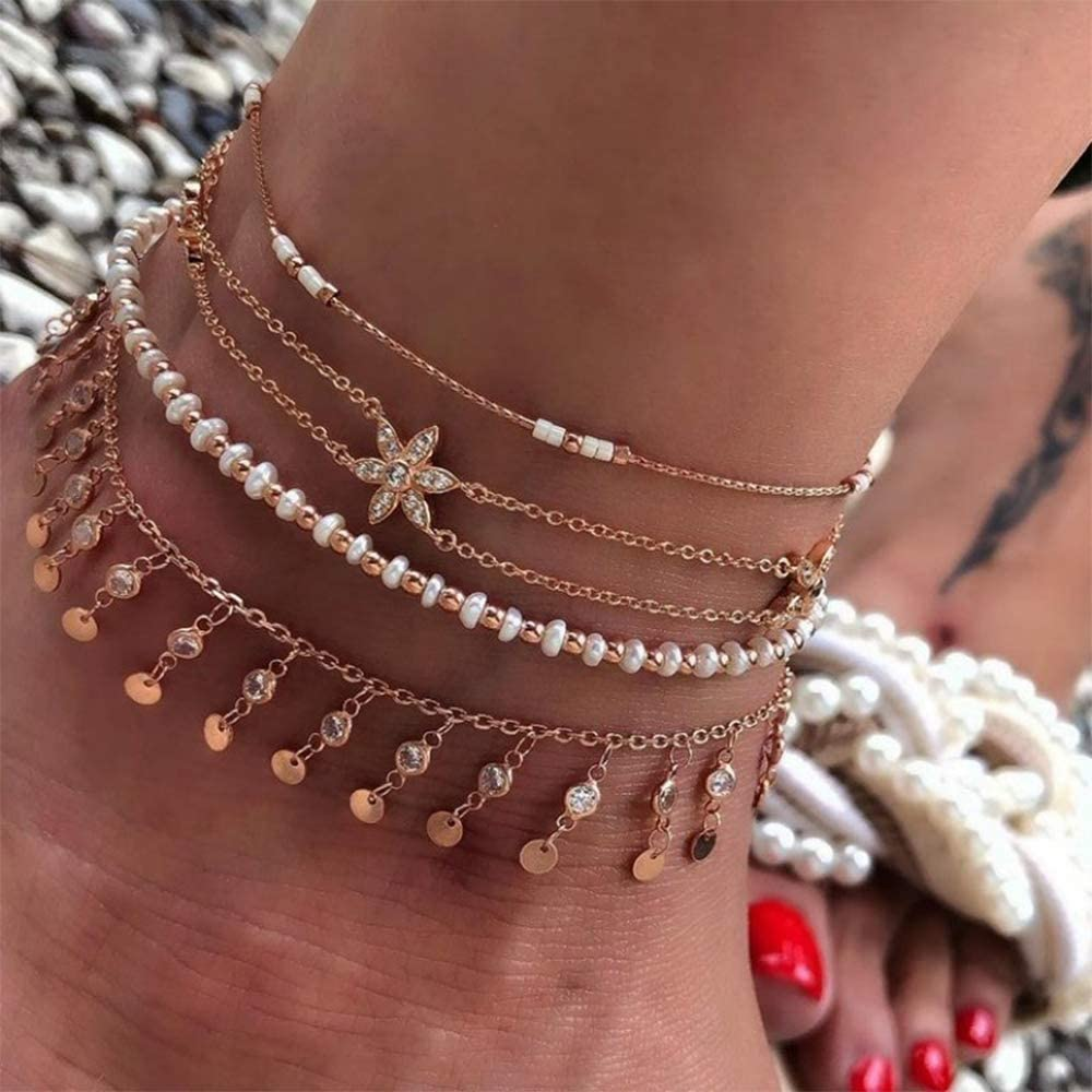 Anglacesmade Lot de 4 bracelets de cheville en forme de fleur avec perles de cristal boh/ème et cha/îne de poignet pour femme et fille