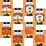 Set of 4 Giant Halloween Pumpkin Lawn Bags with Twist Ties in 3 Different Sizes (Set of 8, Ghosts & Pumpkins)