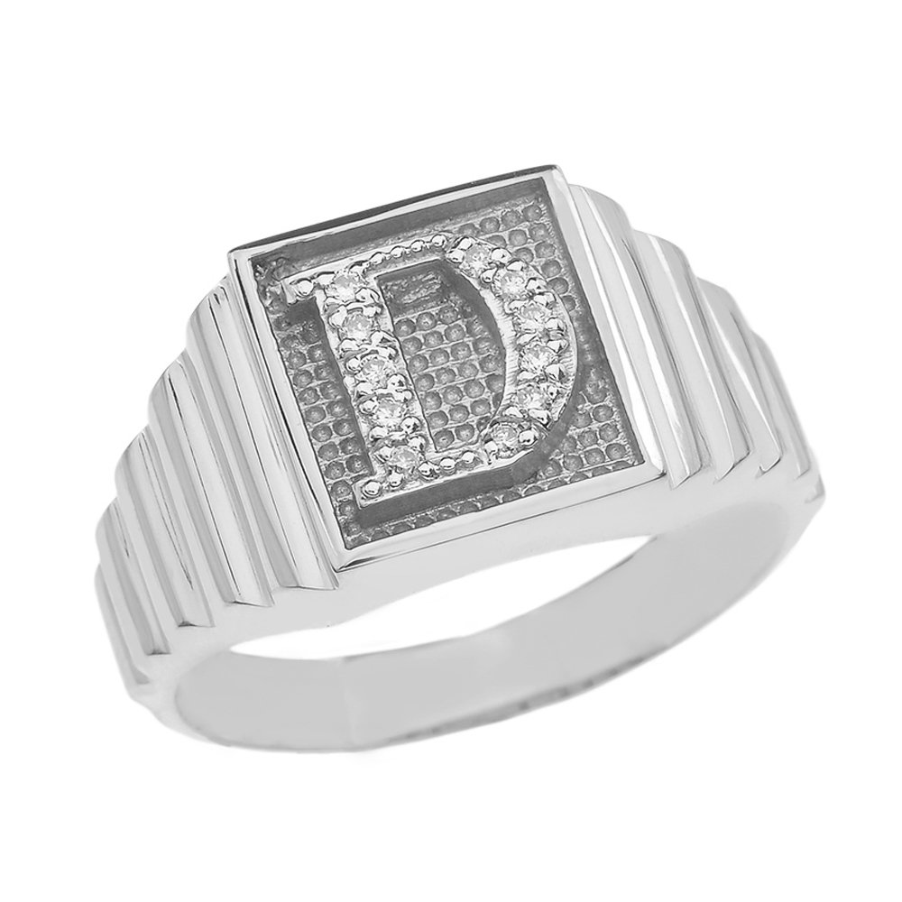 Men's 10k White Gold Layered Band Square Face Diamond Initial Letter D Ring (Size 8.5)