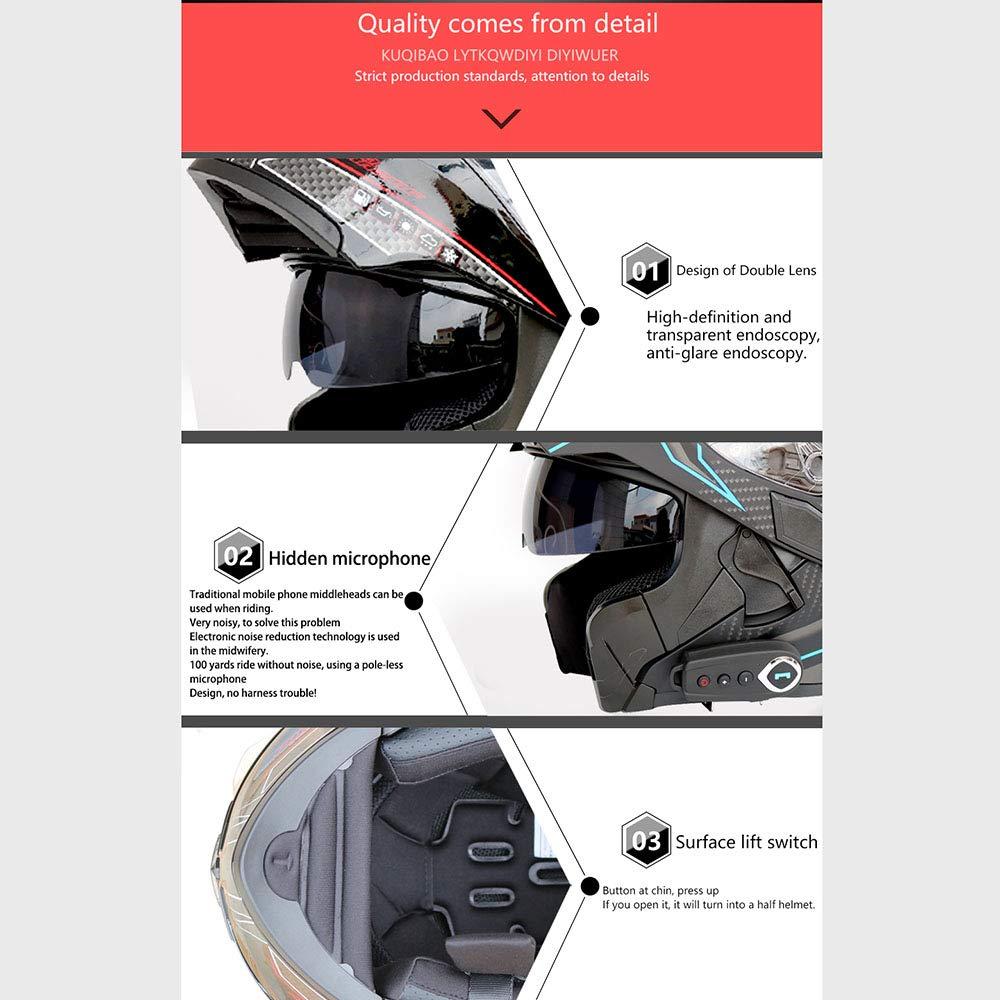 GNB Casques Bluetooth pour Moto modulables Casques Bluetooth Bluetooth avec Radio FM