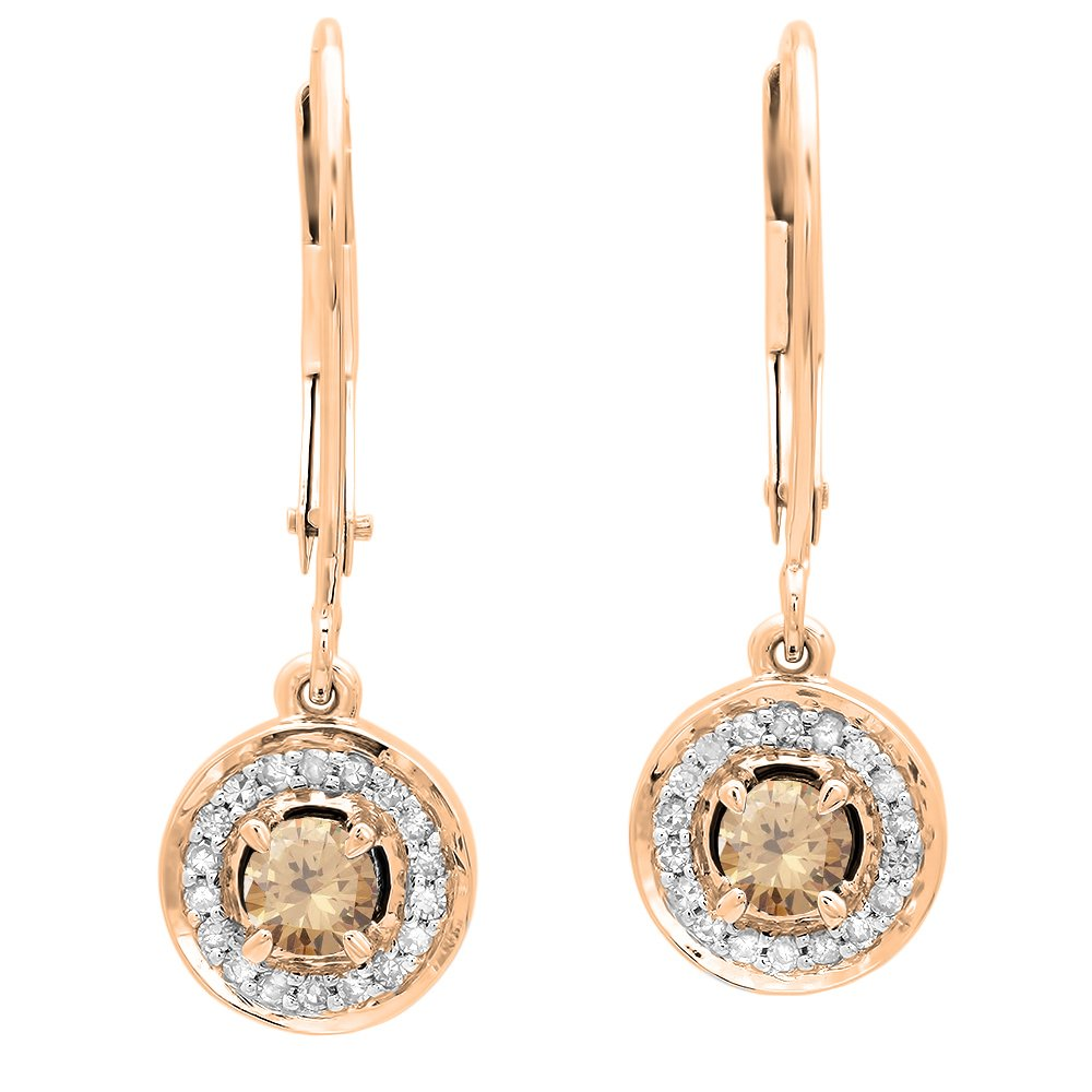 Dazzlingrock Collection 0.50 Carat (ctw) 14K Each Round Champagne & White Diamond Halo Drop Earrings 1/2 CT, Rose Gold