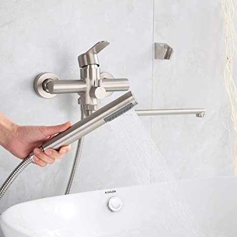 HomeLava Robinet de Baignoire avec Douche /à Main Ronde Mitigeur en acier inoxydable bross/é robinet de douche pour Salle de Bains