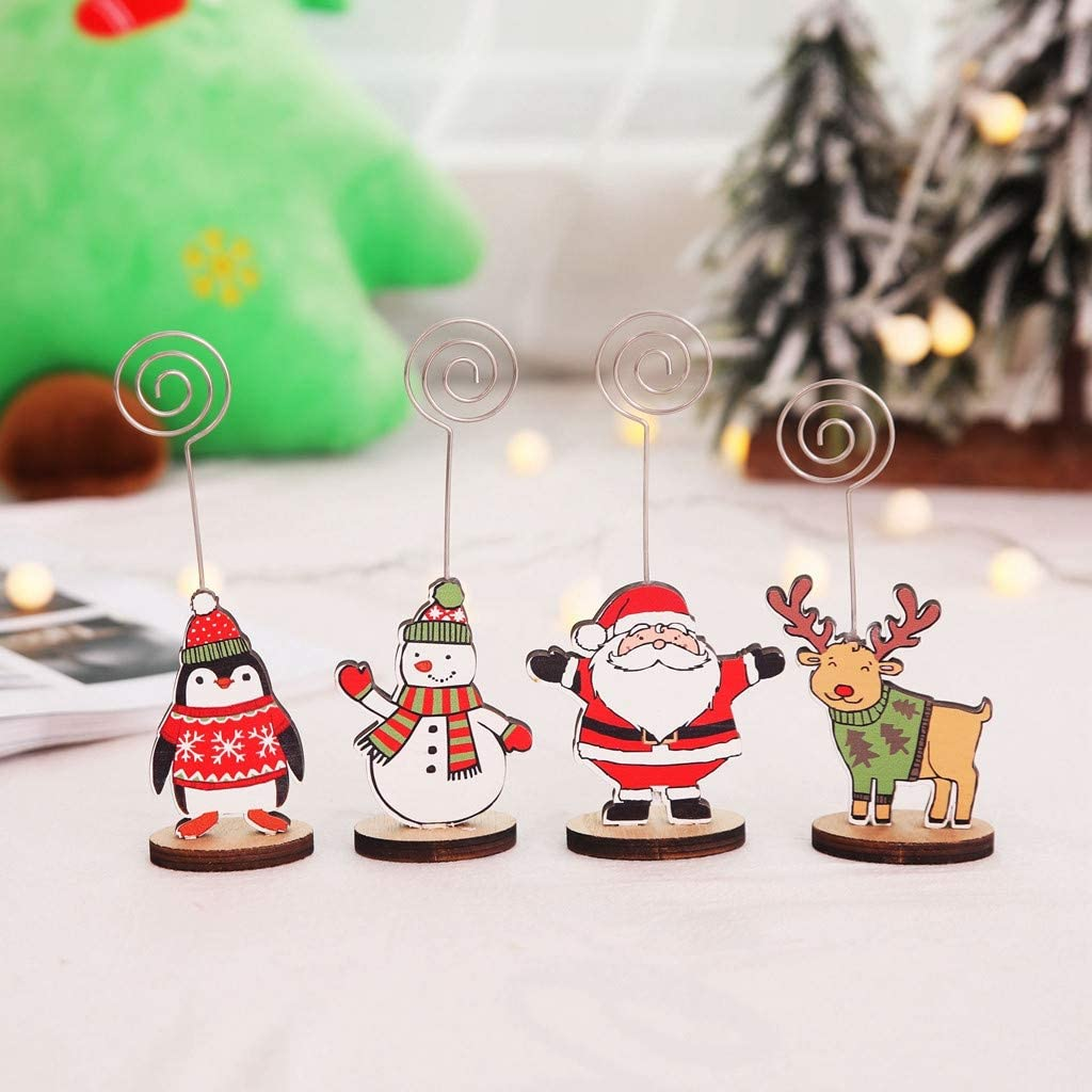 Amazon Com Shan S Creative Christmas Business Card Holder Message Folder Photo Clip Cute Santa Claus Reindeer Snowman Penguin Wooden Name Card Note Holders For Xmas Diy Home Party Decoration Sports Outdoors