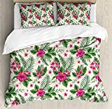 Watercolor King Size Duvet Cover Set by Ambesonne, Plumeria and Hibiscus Flora Tropical Island Nature Aloha Hawaii Jungle, Decorative 3 Piece Bedding Set with 2 Pillow Shams, Magenta Cream Green