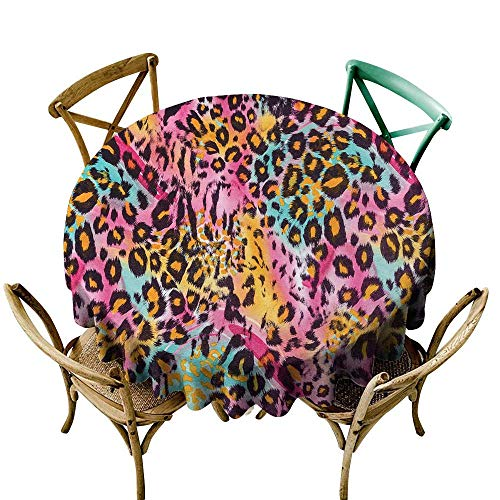 Round Tablecloth Plastic Leopard Print,Mottled Exotic Panthera Skin Pattern Colorful Camouflage Style Safari Theme,Multicolor D60,for Umbrella -