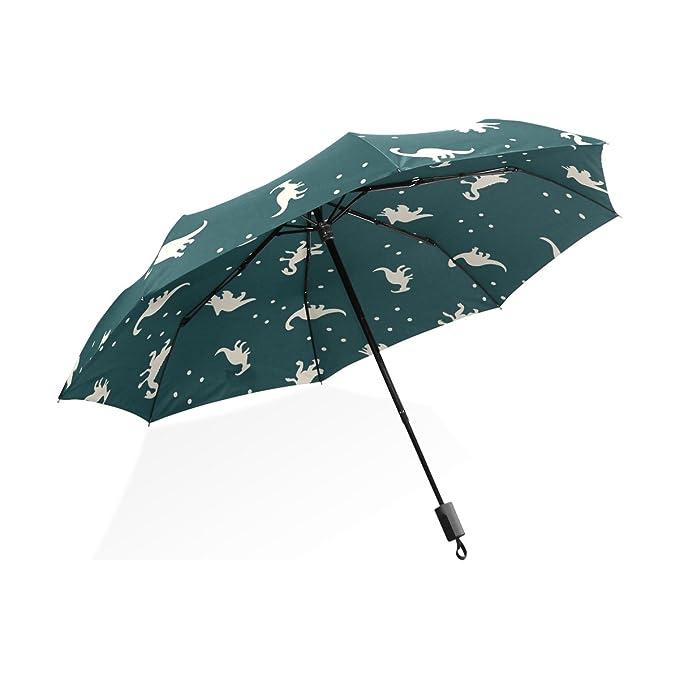 GUKENQ - Paraguas de Viaje Ligero con diseño de Dinosaurio de Dibujos Animados, antirayos UV, Paraguas de Lluvia para Hombres, Mujeres, niños, Resistente al ...