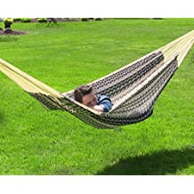 Sunnydaze Hand-Woven XXL Thick Cord Mayan Family Hammock with 15-Foot Stand, Black and Natural, 400 Pound Capacity