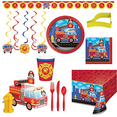 Truck Party Birthday Fire - Flaming Fire Truck Party Supplies Bundle - Serves 16 | Fire Fighter Birthday Party Bundle of Supplies Includes: Happy Birthday Banner | Table Cover | Centerpiece | Plates | Napkins | Cups | Utensils | Cookie Cutter + Bonus Recipe