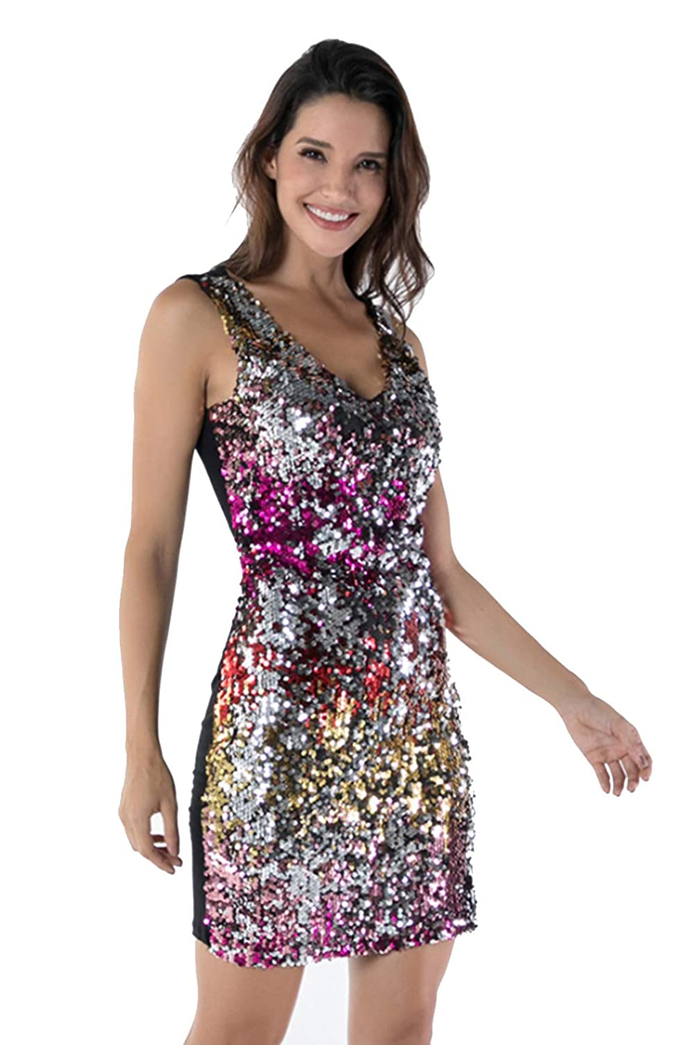 39cedc85ee GMHO Women's Sexy Cocktail Dress V Neck Sleeveless Sequin Glitter Bodycon  Mini Midi Stretchy Party Club Dress