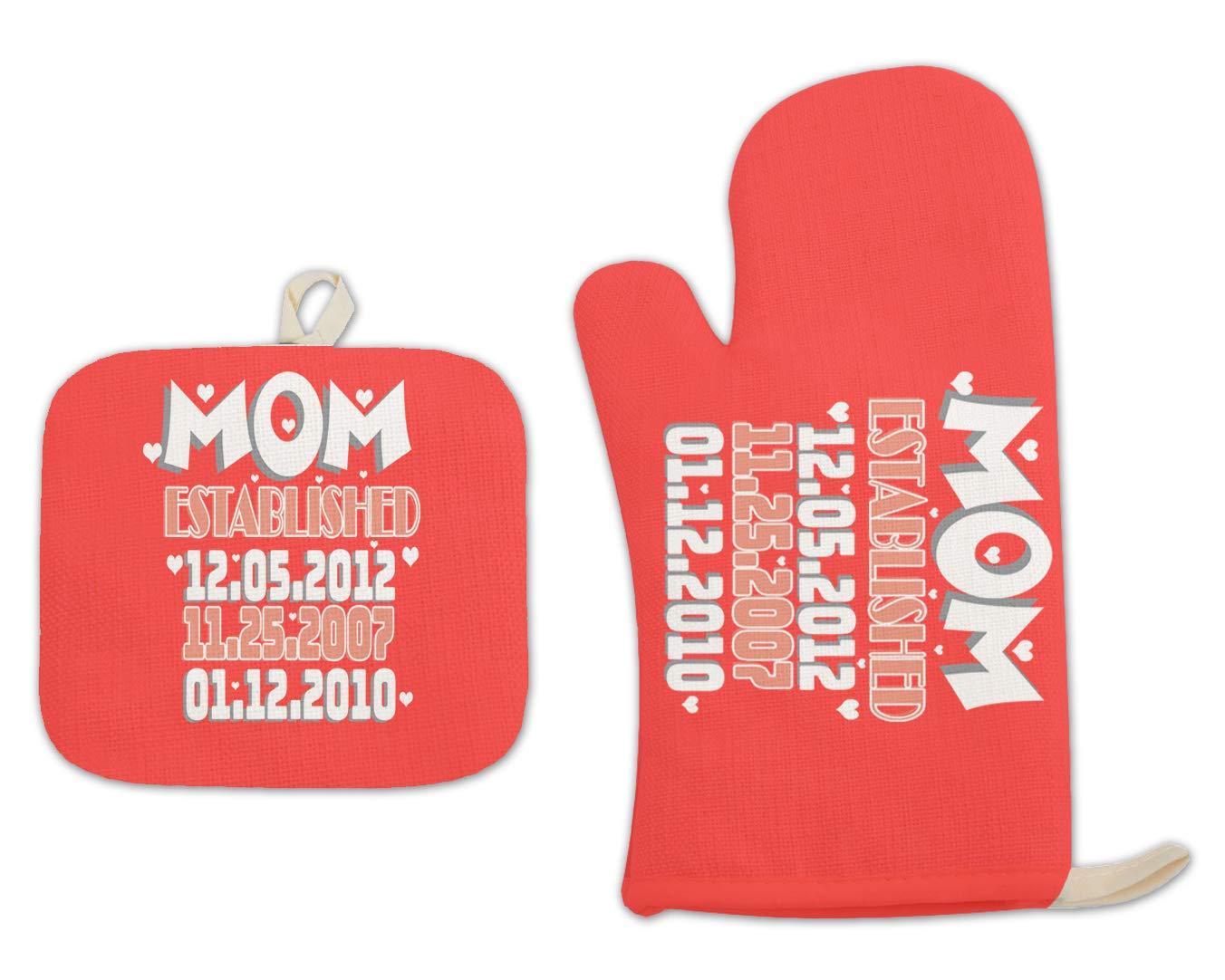 Bleu Reign BRGiftShop Personalized Custom Name Mom Established Children Child Birthday Dates Linen Oven Mitt and Potholder Set