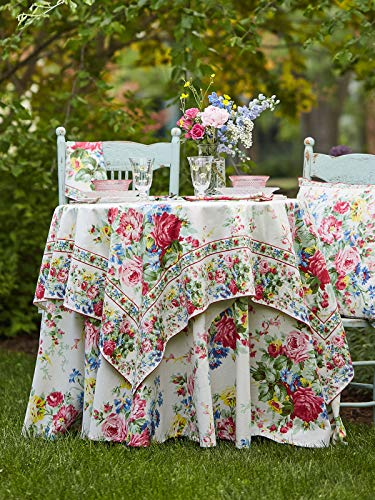(April Cornell Cottage Rose Ecru Floral Print 60 x 90 inch Rectangular 100% Cotton Tablecloth - Seats 6-8)