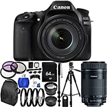Canon EOS 80D DSLR Camera with EF-S 18-135mm f/3.5-5.6 IS USM Lens & EF-S 55-250mm f/4-5.6 IS STM Lens 64GB Bundle 33PC Accessory Kit. Includes 64GB Memory Card + 3PC Filter Kit (UV-CPL-FLD) + 4PC Macro Filter Set (+1,+2,+4,+10) + MORE - International Version (No Warranty)