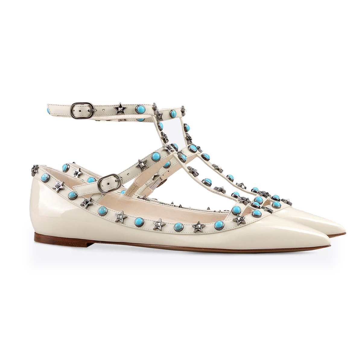 White Women's Sandals Shallow Mouth Metal Rivet Single shoes colorful Nails Buckle Tip (Flat shoes)
