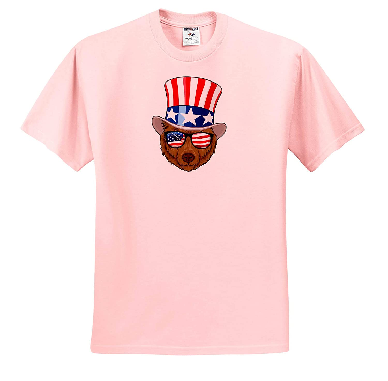 T-Shirts Illustrations Patriotic Panda with top hat and Sunglasses with The American Flag 3dRose Carsten Reisinger