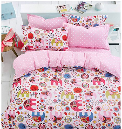 135x200-cm-Bettwsche-Kinderbettwsche-mit-1-Kissenbezug-80x80-Bettwscheset-Bettbezge-Microfaser-Bettwschegarnituren-Reiverschluss-Basic-Collection-Hindi-pink-rosa-amarant-blau-rot-blue-red