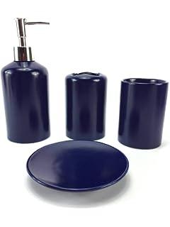 Amazon Com Jynxos Ceramic 5 Pieces Bathroom Accessory Set With Blue