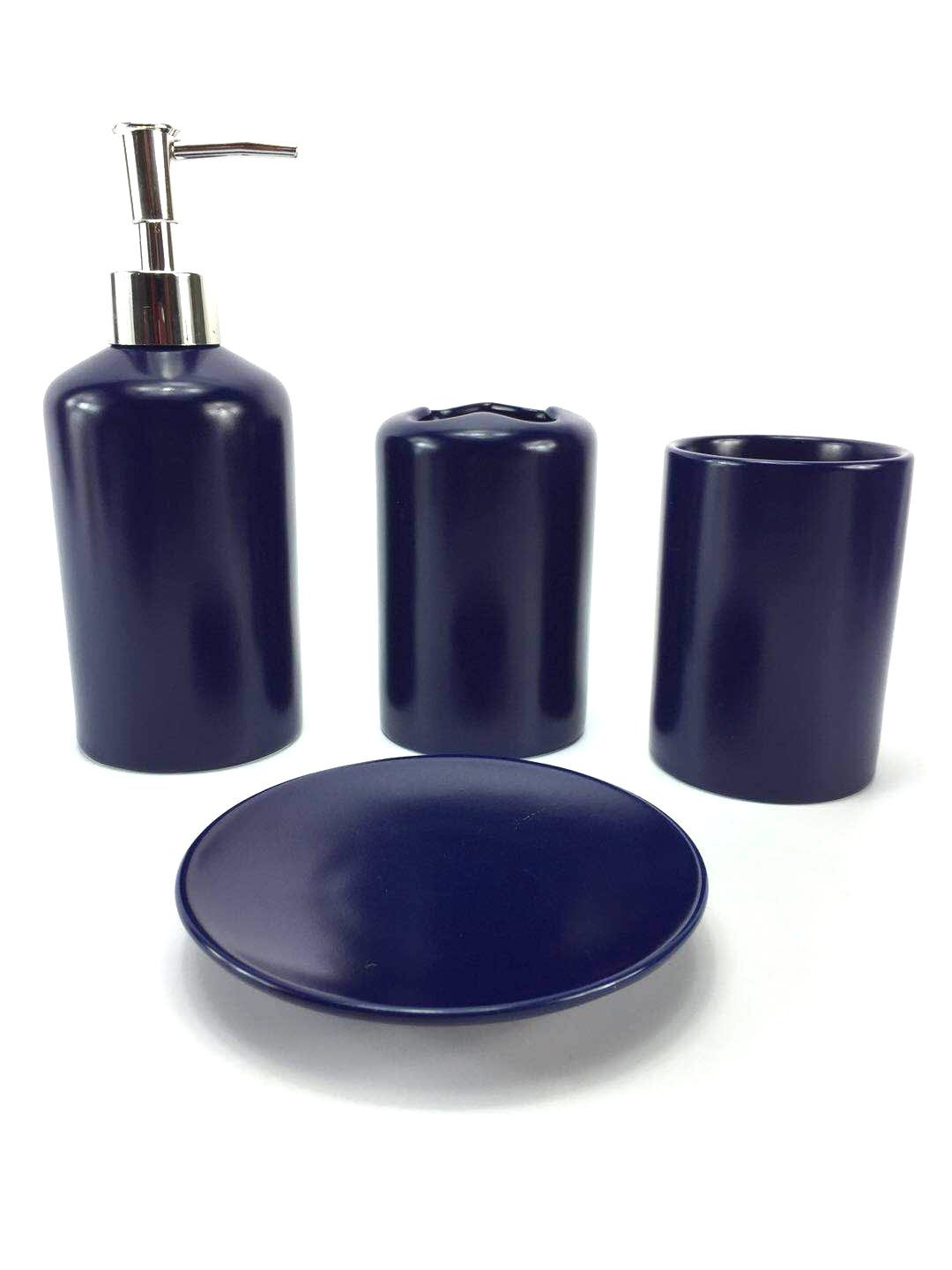 WPM 4 Piece Ceramic Bath Accessory Set | Includes Bathroom Designer Soap or Lotion Dispenser w/Toothbrush Holder, Tumbler, Soap Dish Choose from Purple, Black, Brown, Navy or Burgundy (Navy)