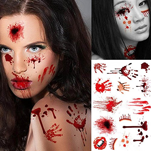 Halloween Temporary Face Tattoo, HuntGold Waterproof Horror Scary Wound Blood Injury Scar Tattoo Sticker for Men Women Kids Boys