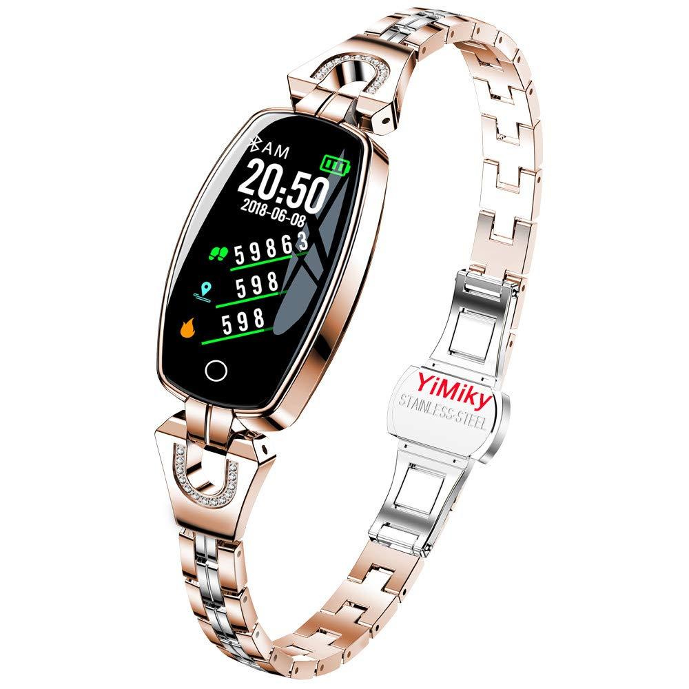 Fitness Tracker Watch, YiMiky Smart Bracelet Heart Rate Activities Tracking Sleep Monitor Smart Watch Health Tracker Band Blood Pressure Smart Watch for iOS Android Smart Wristbands - Gold