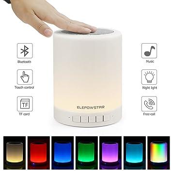 Elepowstar Night Light Bluetooth Speaker Touch Sensor Bedside Table