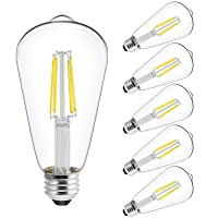 Deals on 6-Pk Energetic Smarter Lighting Vintage LED Edison Bulbs 60 W