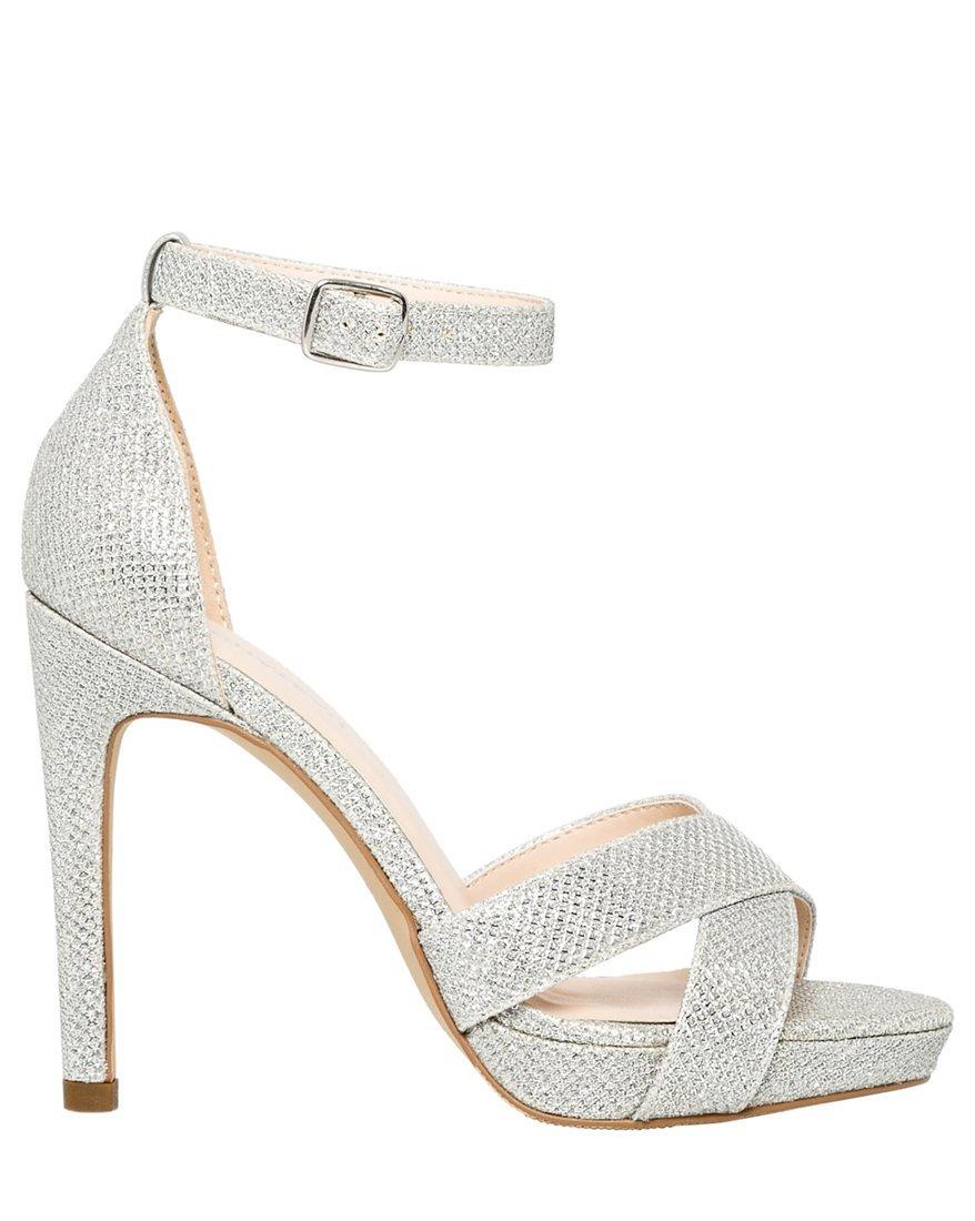 LE CHÂTEAU Women's Glitter Mesh Open Toe Platform Sandal,37,Silver