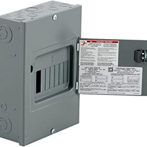 Square D by Schneider Electric QO612L100DS QO 100-Amp 6-Space 12-Circuit Indoor Main Lugs Load Center with Surface Mount Cover, Gray