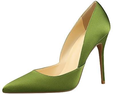 Elegant Damen Kleid Pumps Seide Spitze Zehen High Heels Schuhe Slip On Von BIGTREE