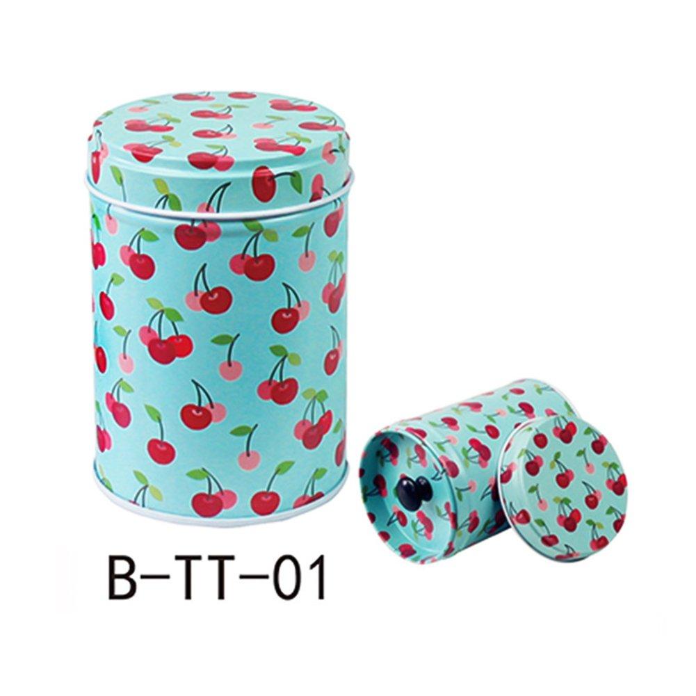 dezirZJjx Tea Container, Premium Cylindrical Candy Tinplate Retro Tin Box Coffee Tea Seal Storage Jar Canister Large Capacity - TT-1