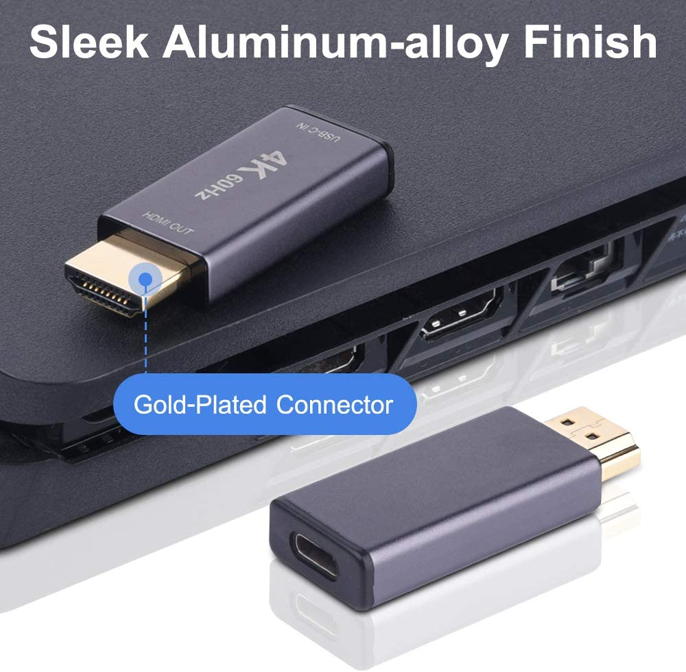 USB-C Female to HDMI Male Adapter,USB Type C 3.1 Input to HDMI Ouput Converter,4K 60Hz USBC Thunderbolt 3 Adapter for New Macbook Pro,Mac Air,Chromebook Pixel and More