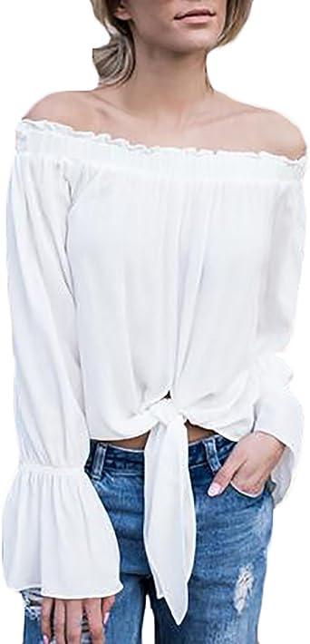 Mujer Blusas De Elegantes Manga Larga Mangas De La Trompeta ...