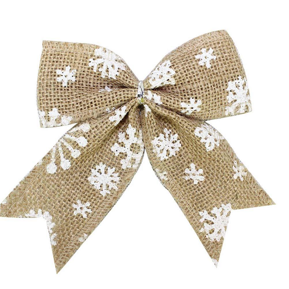 YJBear 6 PCS Velvet Red Christmas Tree Bowknot Ornament Wedding Birthday Party Favors Festive Holiday Hanging Decor Grid Bow for Home Christmas Dcoration YJB-78-524860837686-zuhe6