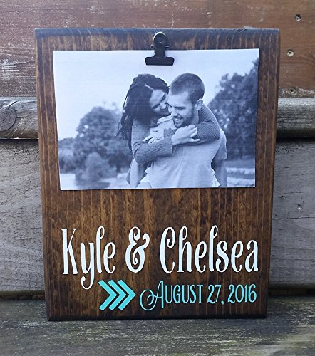 Wedding Date Photo Board, picture frame with clip, 4x6 photo holder, memo board, note holder, engagement party gift, bridal shower, established date sign, ()
