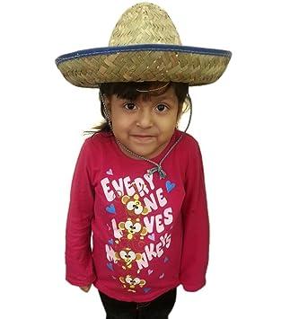 Azul Tamaño Niño Tejido Sombrero Mexican - Sombrero de paja tradicional  mexicana con borde azul en d5b21bd57c6
