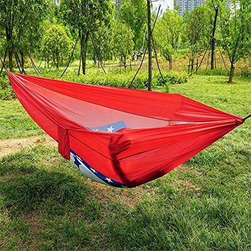 Outdoor Camping Swing Hammock Parachute Cloth Single Double Portable Light Storage 300kg Load Bearing 270 140cm 2 X Advanced Carabiner 2 X Nylon Strap