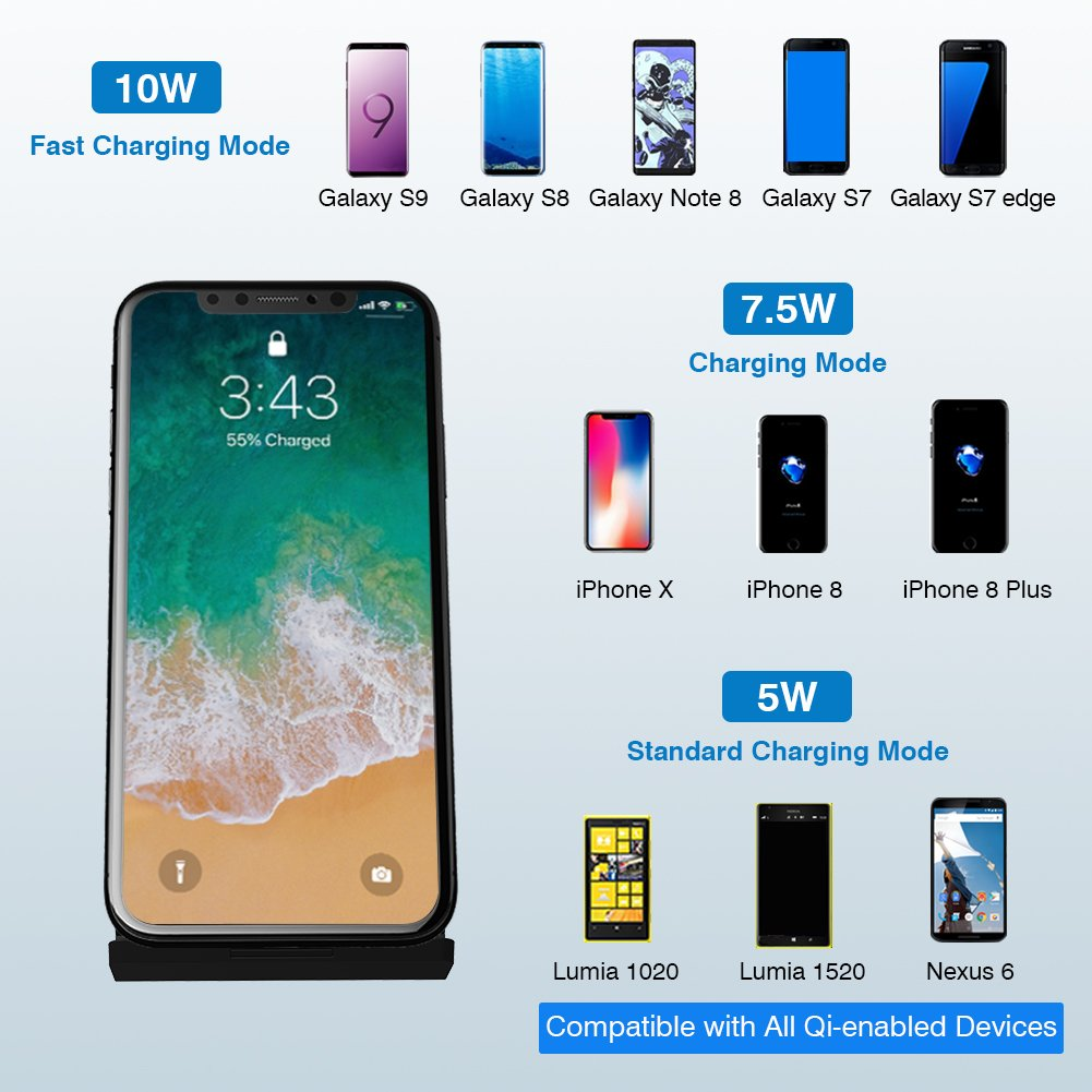 Amazon.com: LATOW Wireless Charger, 7.5W Qi Wireless Charger Compatible for iPhone X/8/8 Plus, 10W Fast Wireless Charger Compatible for Galaxy ...