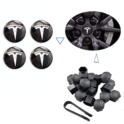 Teslamotors Tesla Model 3, Aero Wheel Cap Kit, TSLA S& X, Accessories,Performance Center Cap, Lug Nut Cover: Automotive