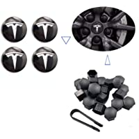 Teslamotors Tesla Model 3, Aero Wheel Cap Kit, TSLA S& X, Accessories,Performance Center Cap, Lug Nut Cover