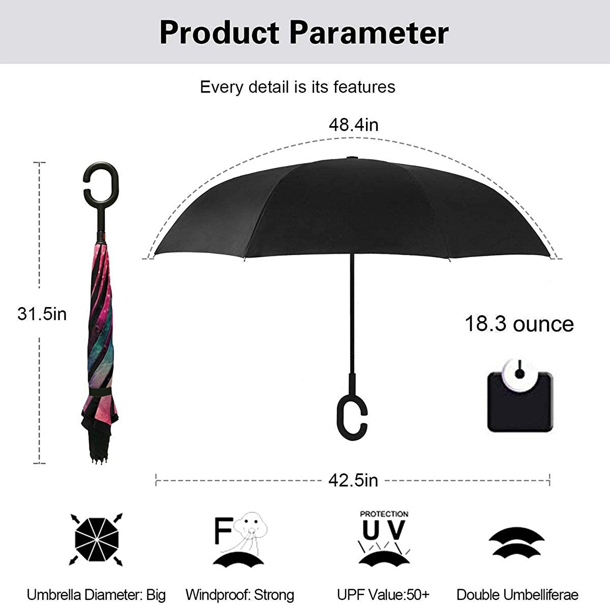 Abstract Colored Dust Explosion Black Reverse Umbrella Double Layer Inverted Umbrellas For Car Rain Outdoor With C-Shaped Handle Personalized